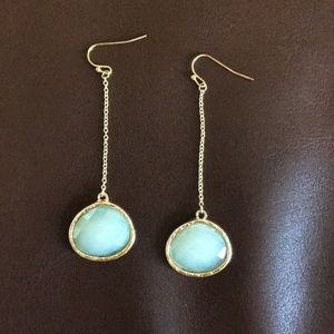 Blue and gold dangly earrings Charming Charlie